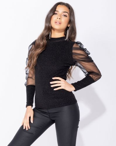 Sheer Puff Sleeve Metallic Knit Top